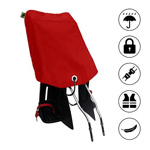 MadeForRain Preiswerter Basis-Regenbezug mit Diebstahlschutz für Fahrradkindersitze - CityFrog Basic AntiTheft - Tomatenrot