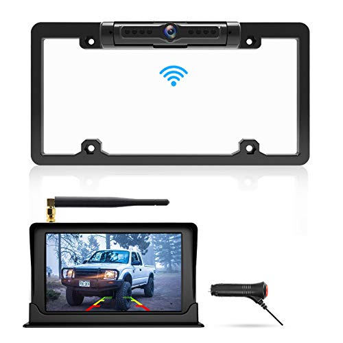 """Calmoor Upgrade Digital Signal Wireless Backup Camera System Kit with HD 5"""" Monitor IP69K Waterproof 170 Degrees Angle License Plate Camera with Parking Lines for Cars SUVs Trucks Pickups MiniVans"""