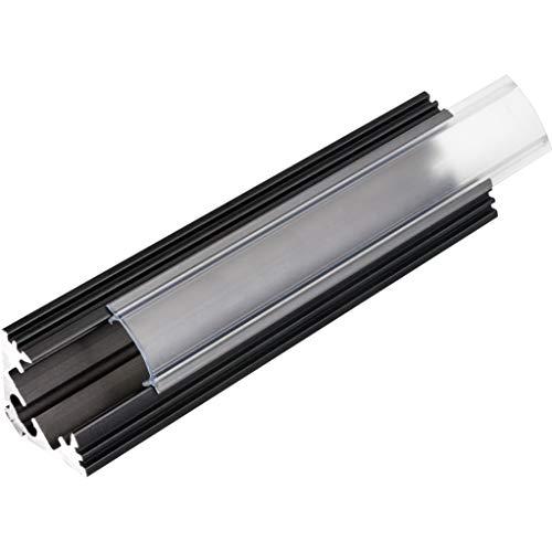 KIT de 6 x 1 mètre P3 Profilé en aluminium NOIR pour les bandes LED avec couvercles transparents, bouchons et clips de fixation