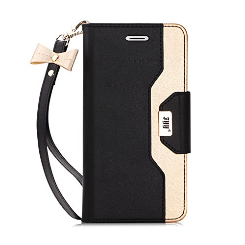 FYY Leather Case with Mirror for iPhone 7/iPhone 8, iPhone SE 2020 4.7', Leather Wallet Flip Folio Case with Mirror and Wrist Strap for Apple iPhone 7 2016/iPhone 8 2017, iPhone SE 2020 Black