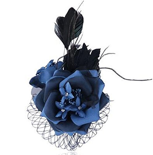 Braut Haarschmuck Kopfschmuck Brustblume Haarblume Blumen Haarspange Damen Accessoires Perlen mit Sicherheitsnadeln edel (grey blue)