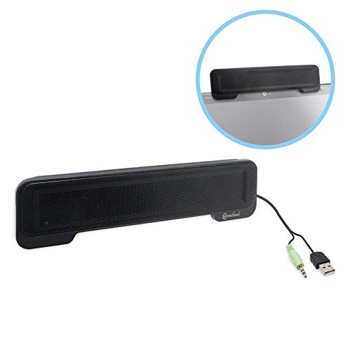 Connectland CL-SPK20138 Syba USB Powered Portable Stereo Sound Speaker Bar Black for Laptop Mounts to Laptop Screen