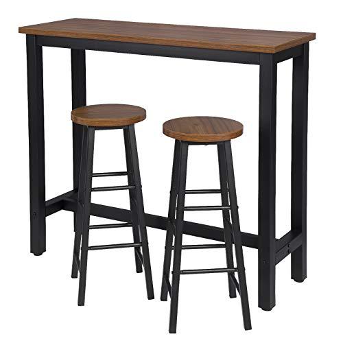 eSituro Juegos de Muebles Altas 1 Comedor Mesa y 2 Taburetes de Bar, Mesa de Bar Mesa de Cafetería Barra Cocina con Estructura de Metal 120x40x100cm Haya Oscura SBST0397+SBST0395-2