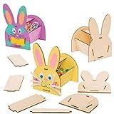 Baker Ross AT442 Kits Cestas de Madera Conejito - Actividad de manualidades infantiles de Pascua para crear y exhibir (Paquete de 4)