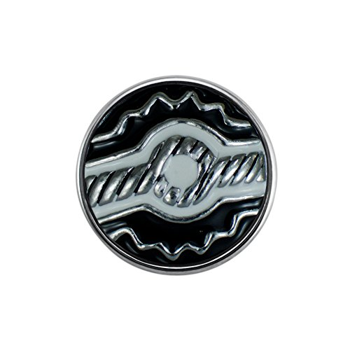 Quiges Damen Click Button 18mm Chunk Versilbert Ornament Schwarz für Druckknopf Zubehör