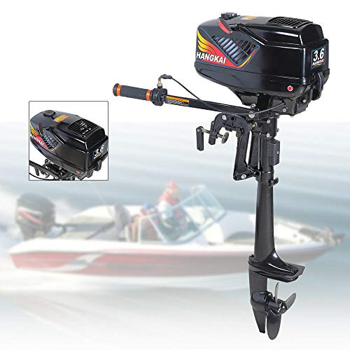 TBVECHI 3.6HP Outboard Motor Boat Engine, 2.6KW 2 Stroke Heavy Duty Outboard Motor Fishing Boat Engine with Water Cooling System (2-Stroke 3.6HP)
