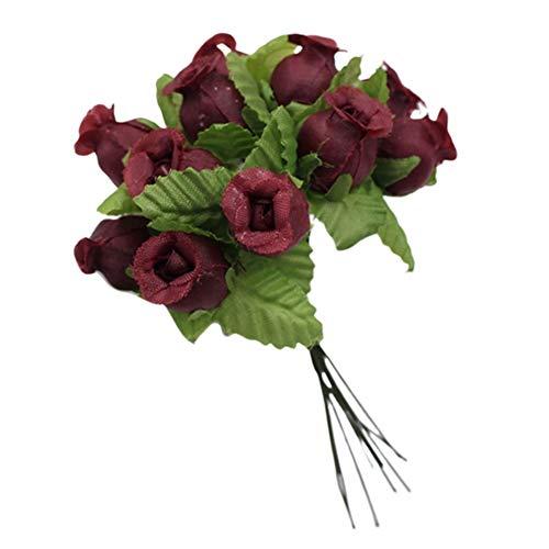 YOSEMITE - 1 Ramo de Flores Artificiales, 12 Rosas para Manualidades, decoración del hogar, Boda, Fiesta, Accesorio, NA, Rojo Vino, Wine Red