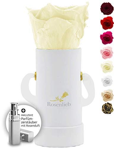 Rosenlieb Rosenbox Weiß mit Infinity Rosen (3 Jahre haltbar) | Echte konservierte...