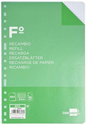 Liderpapel Recambio Folio 100 hojas, con margen 60G/M2 Cuadro 4MM, 16 taladros, RF11