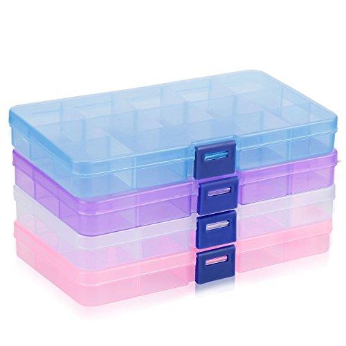 Plastik Aufbewahrungsbox, innislink Sortierbox Sortimentsboxen Einstellbar Fächer für die Schmuck, Perlen und andere Mini waren Sortierkästen Schmuckschatulle Werkzeugcontainer - 15 Raster x 4 Farben