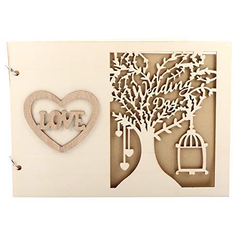 Atyhao Boda de Madera Libro de visitas Álbum Mensaje Cuaderno para Boda Compromiso Decoración Evento Suministros para Fiestas Decoraciones Libros de visitas(#2)