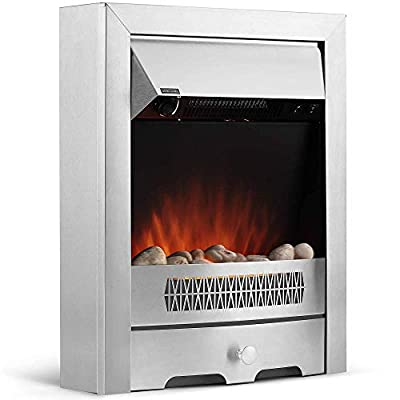 VonHaus Electric Fireplace - 2KW Modern Freestanding Heater with Adjustable Thermostat, 2 Heat Settings, Realistic Flame Effect & Attractive Geo Design - 2000W