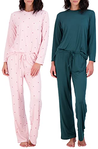 2 Pack: Womens Long Sleeve AOP Striped Pajama Sets Ladies Soft Winter Fall Sleepwear Pajamas Clothes Loungewear Long Sleeve Tops Pants Christmas Pj Sets for Women - Set 6 Medium