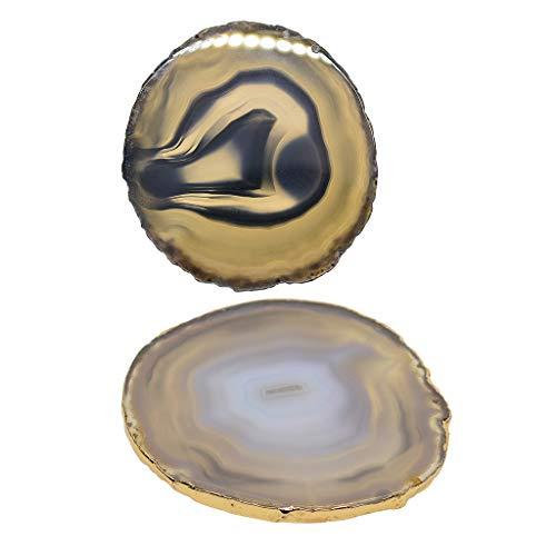 lahomia 2 rebanadas de ágata, posavasos, bandeja, cristales de geoda, decoración del hogar, manualidades de 6 a 8 cm