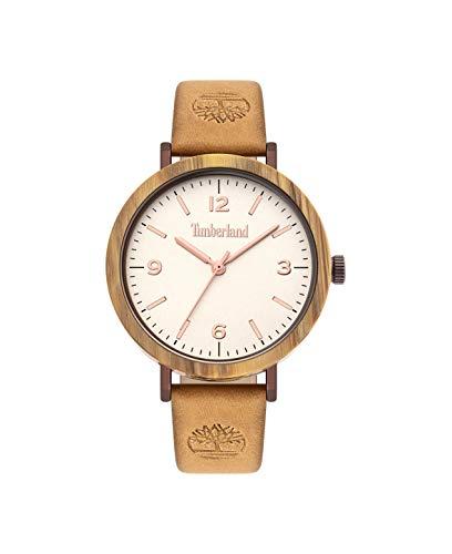 Timberland Reloj Analógico para Mujer de Cuarzo con Correa en Cuero Genuino TBL15958MYBNBE.07