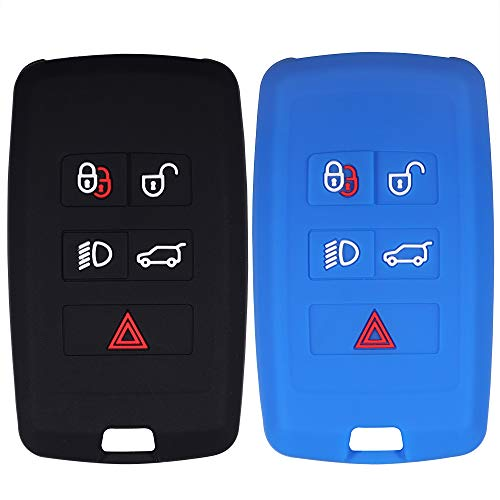 Lcyam Remote Key Fob Covers Silicone Case Fits for 2018 2019 2020 Land Rover Discovery Range Rover Sport Evoque 5 Key Fob (Black Blue)