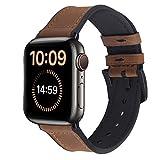 Fullmosa Correa Apple Watch Vintage, Correa iWATCH de Silicona Meex con Cuero, Compatible con la iWatch SE, Apple Watch Serie 7/6/5/4/3/2/1, Marrón 42mm/44mm/45mm