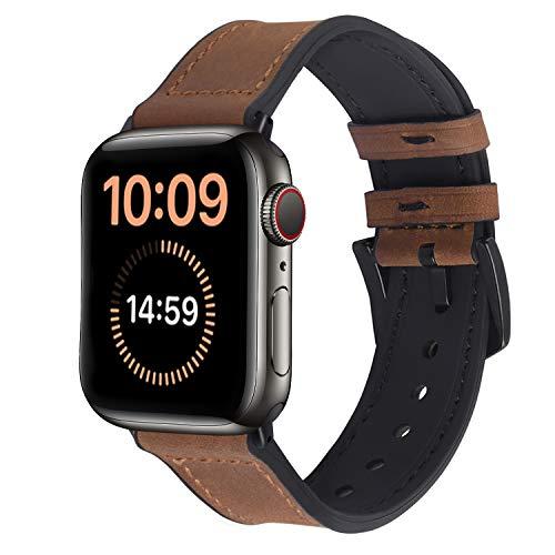 Apple Watch 44mm 42mm 40mm 38mm バンド コンパチブル、Fullmosa アップルウォッチバンドベルト本革+シリコン apple watch series6/5/4/3/2/1,SEに対応 iwatchバンド スポーツ おしゃれ ブラウン (42mm/44mm, ブラウン+ブラックハードウェア)