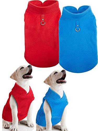 SATINIOR 2 Pieces Small Dog Pullover Fleece Jacket with Leash Ring Fleece Vest Dog Winter Sweater Dog Jacket (M)