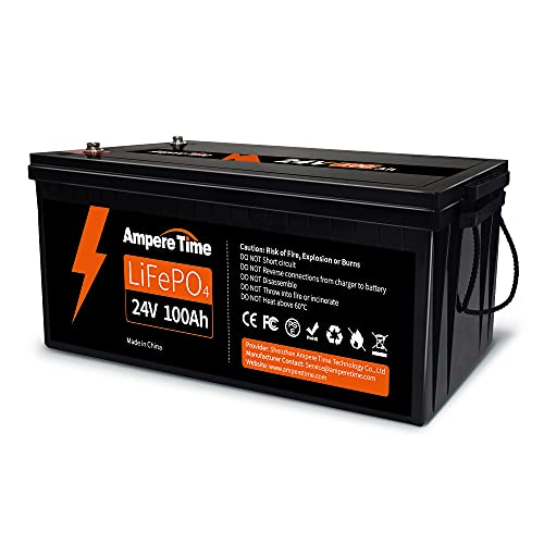 Ampere Time 24V 100Ah LiFePO4 Deep Cycle Lithium Battery, Built-in 100A BMS, 4000+ Cycles Rechargeable Battery, 280A Max, Perfect for RV/Camper, Solar, Marine, Overland/Van, Off-Grid Applications…