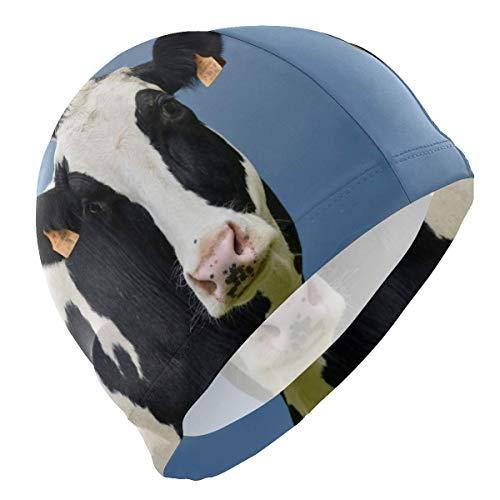 UPNOW Badekappe Tier Kuh Milchvieh Lustige Herren Badekappe Junge Erwachsene Jugend Teen Badehut No-Slip