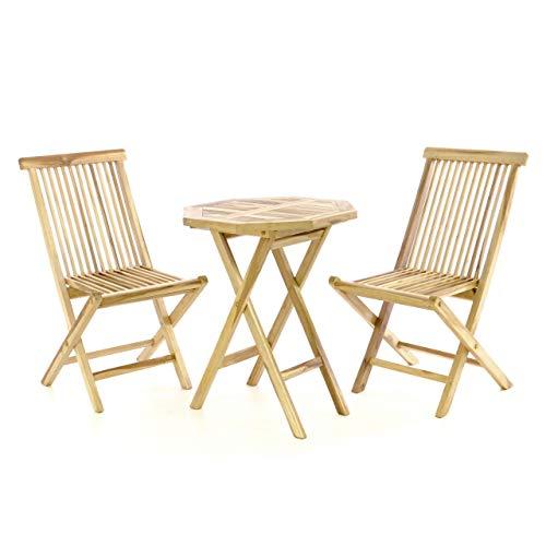 Nexos DIVERO Gartenmöbelset Sitzgruppe aus Teakholz mit Tisch und zwei Stühlen 3 tlg.