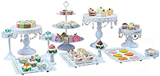 Kaibrite Anciun Présentoir à gâteaux vintage en métal rond avec perles de cristal, 3 étages, support pour gâteau de mariag...