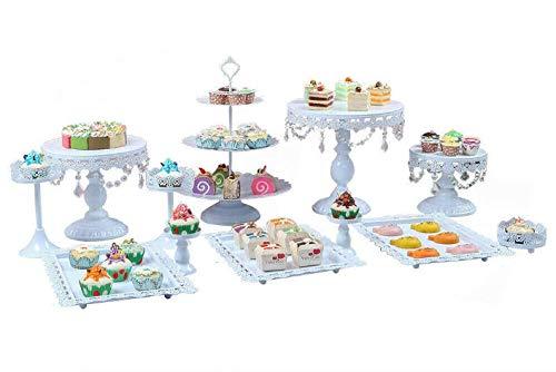 Kaibrite Anciun 12tlg Vintage Tortenständer Rund Metall Dessert Display mit Kristallperlen, 3 stöckig Tortenplatte Hochzeitstorte Deko Gestell für Party Hochzeit, Weiß