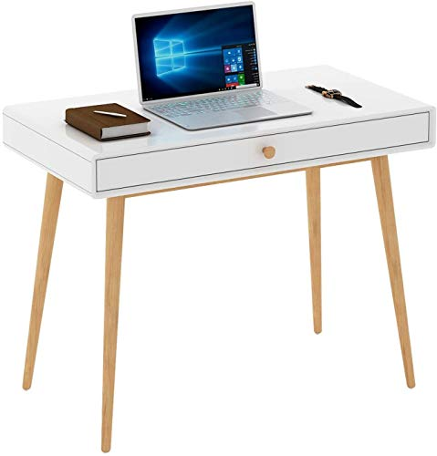 Lights4Fun - String Lights Home Office Writing Desk Computer Desk with Drawer, Simple Modern Makeup Vanity Table, White