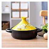 WNN-URG Cucina Tajine Taji Pot Pot Micro Pentola a pressione Pentola Casseruola in ceramica 7,87 pollici di diametro WNN-URG (Color : Yellow Hand Painted)