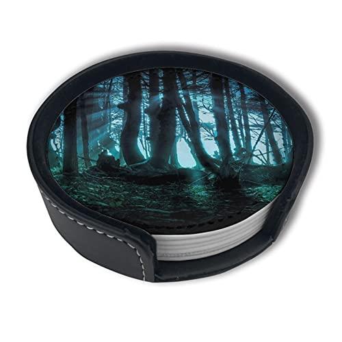 Juego de 6 posavasos absorbentes con diseño de bosque misterioso para tazas y tazas