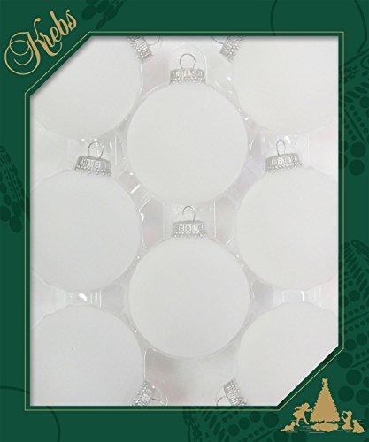 Dekohelden24 ORIGINAL LAUSCHAER Christbaumschmuck - 8er Set Kugeln matt geeist, 6,7 cm, mit silbernem Krönchen + 50 Schnellaufhänger in Silber GRATIS zu Ihrer Bestellung dazu !