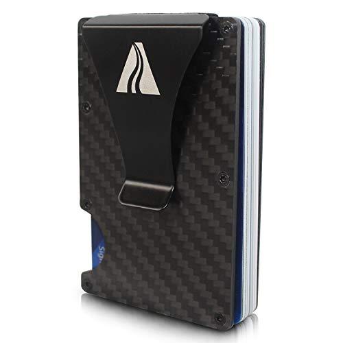 PATHWAY Cartera de Fibra de Carbono con Bloqueo RFID para Hombres – Tarjetero con Clip para Dinero Billetera Delgada para Hombres – Billetera Minimalista para Hombres