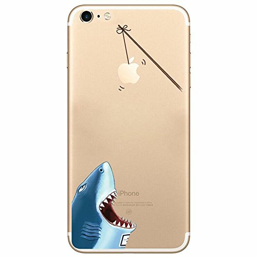 Crazylemon Cover per iPhone se 5S 5 Trasparente in TPU, Shark, iPhone 6 Plus / iPhone 6S Plus