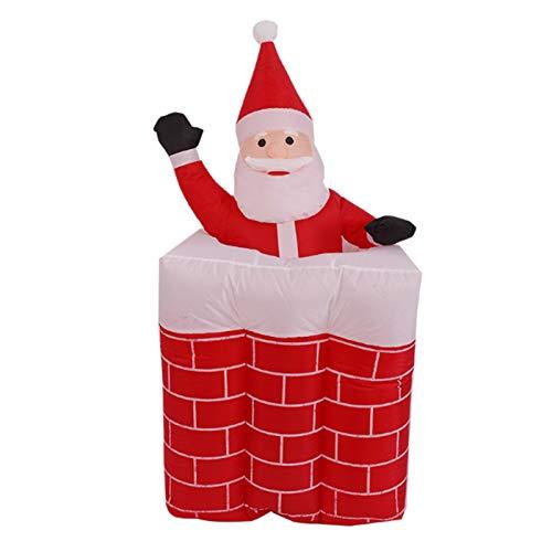 Wsaman Outdoor LED Aufblasbare Weihnachtsmann-Puppe, Hebe Kamin Sankt Modell Props Luminous Weihnachten Decoratios Windundurchlässige wasserdichte Für Yard/Party/Indoor/Outdoor/Rasen