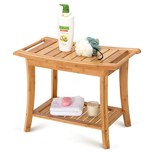 OasisSpace Bamboo Shower Bench, 24' Waterproof Shower Chair with Storage Shelf, Wood Spa Bath Organizer Seat Stool, Perfect for Indoor or Outdoor