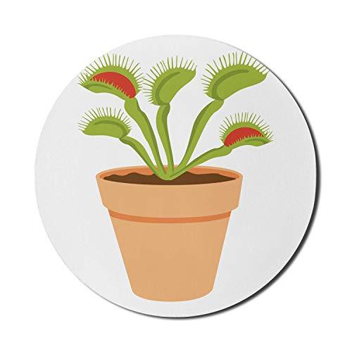 Runde Mausmatte, Venus-Mauspad für Computer, Fliegenfalle als Zimmerpflanze im Topf Cartoonish auf glattem Hintergrund gezeichnet, rundes rutschfestes Gummi-Mousepad mit moderner Basis, olivgrünes Pfi