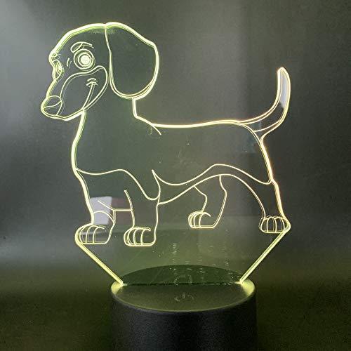 Nur 1 Stück Led Nachtlicht Hund Tier Nachtlicht für Kinder Geschenk USB Touch Sensor für Kinderzimmer Nachtlichter Farbwechsel 3D Lampe Hund