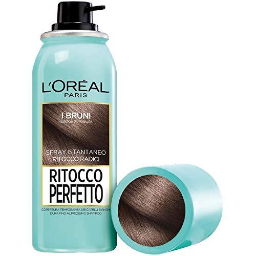 L'Oréal Paris Spray Radici Ritocco Perfetto, Colorazione Ricrescita, Copre i Capelli Bianchi e Dura 1 Shampoo, Bruno, 75 ml, Confezione da 1