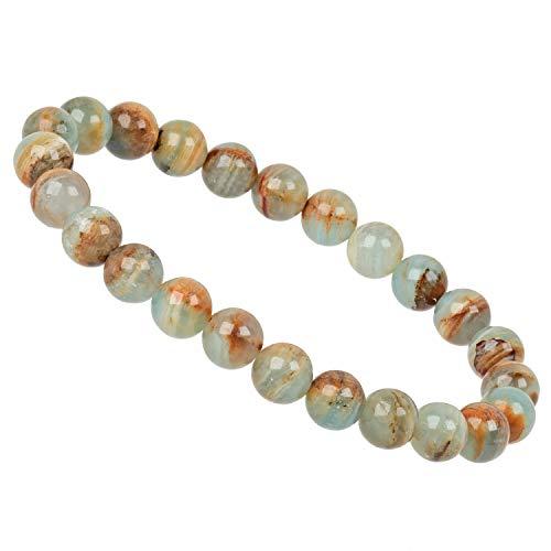 ELEDORO PowerBead Lemuria Aquatine - Pulsera elástica para mujer (perlas de piedras preciosas, 8 mm)