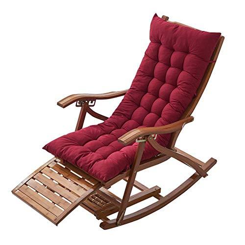 Transat Chaise à bascule en bambou sur 5 positions fauteuil pliant lit de soleil en plein air avec des coussins en coton pour terrasse, balcon, brun / bleu / gris / violet / rouge(couleur, bleu),rouge
