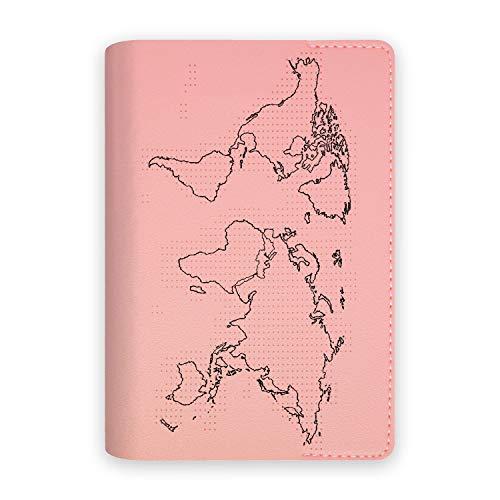 Custodia Porta Passaporto Documenti Da Viaggio Con Mappa Mondo Per Segnare Paesi Visitati Con Ago E Filo Inclusi Adatto Per Regalo, Bambini, Famiglia