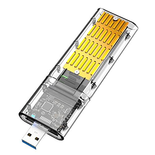 DROHOO Alta Velocidad M2 SSD Carcasa NVME Carcasa M.2 a USB3.1 Caja adaptadora de Disco Duro de 10GBps para PCIE M Key Disk Reader Box, Negro + Dorado