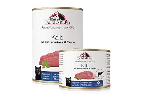 Tackenberg Katzenfutter, Nassfutter Katzen (Kalb + Katzenminze + Taurin), getreidefrei, Dosenfutter