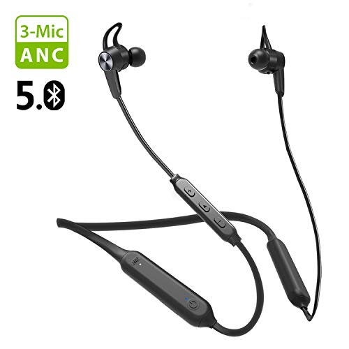 [2020] Avantree NB17 Bluetooth 5.0 Neckband Active Noise Cancelling Earbuds, ANC Headphones with 3 Microphones, IPX5 Waterproof Earphone with CVC 8.0 Mic, Up to 24H Standby time with Only ANC ON