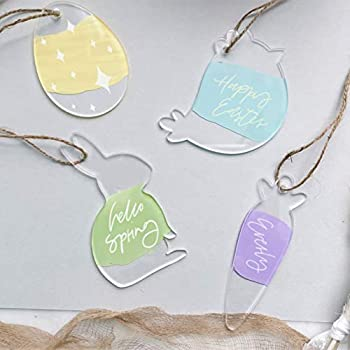 UNIQOOO Clear Acrylic Easter Tree Ornament 12 Pack Kids DIY Craft Easter Egg Bunny Carrot Chick Decorative Hanging Ornaments Easter Basket Gift Tag Key Chain Party Decor Keepsake 1/8in Thick