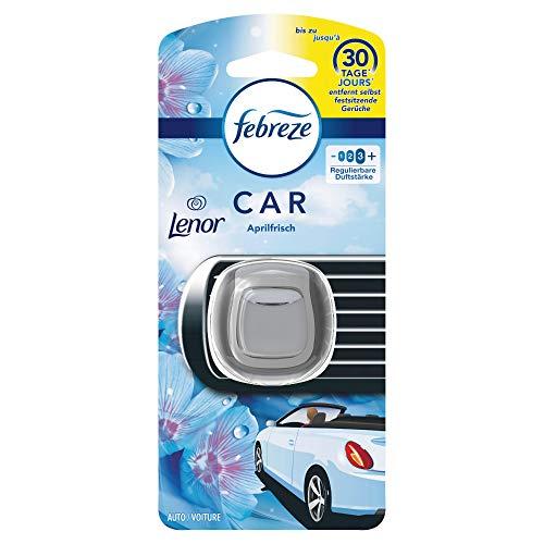 Febreze Auto Lufterfrischer, 3er Pack (3 x 2ml), Auto Clip Starterset Lenor Aprilfrisch entfernt Gerüche im Auto