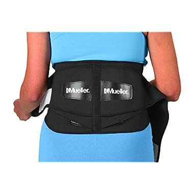 Mueller Lumbar Support Back Brace with Removable Pad, Black, Regular (28  - 50  waist)
