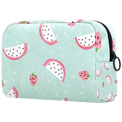 Trousse de toilette portable pour femme avec brosses de maquillage, sac à main, organiseur de voyage fraise dragon fruit