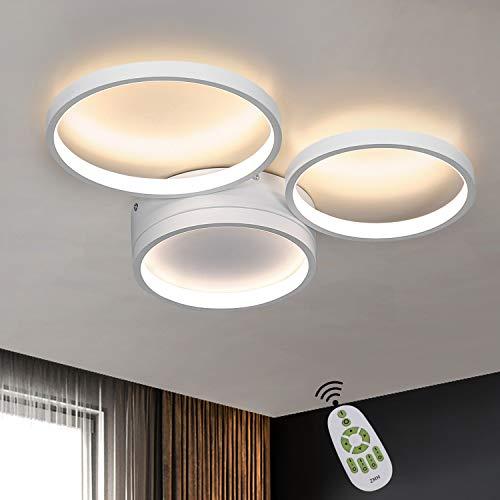 ZMH Deckenlampe LED Wohnzimmer Deckenleuchte dimmbar Weiße Schlafzimmerlampe Modern Ring Design 3 Flammig 38W Bürolampe aus Aluminium Kinderzimmer Esszimmer farbwechsel mit Fernbedienung